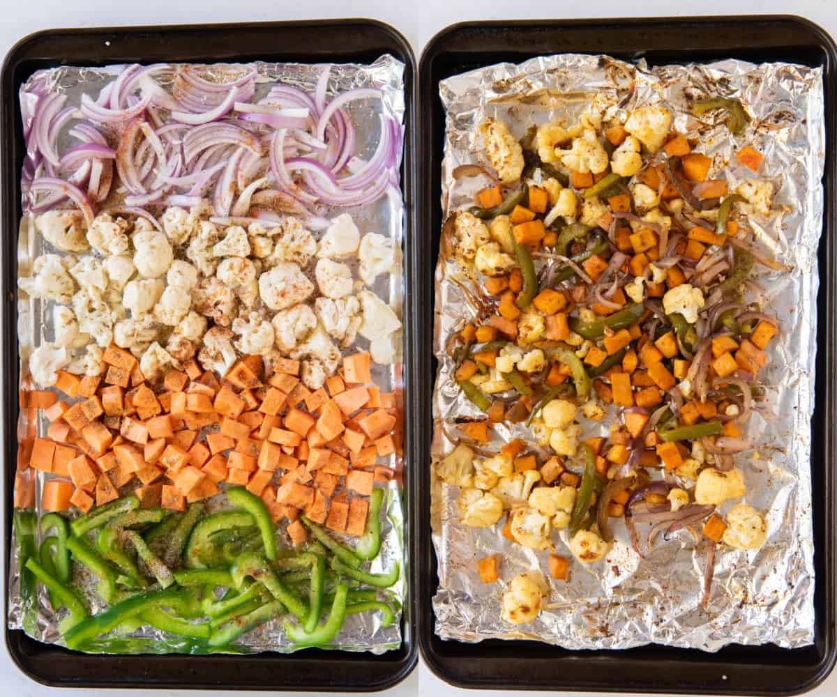 Two trays of vegetables, one before roasting and one after.