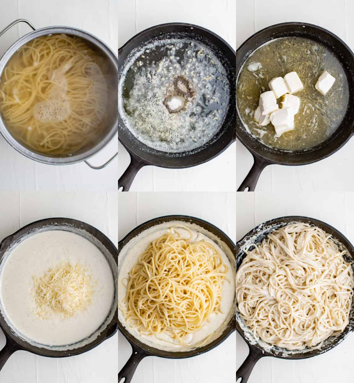 six process shots of cream cheese pasta, each in a black skillet adding cheese and other ingredients.