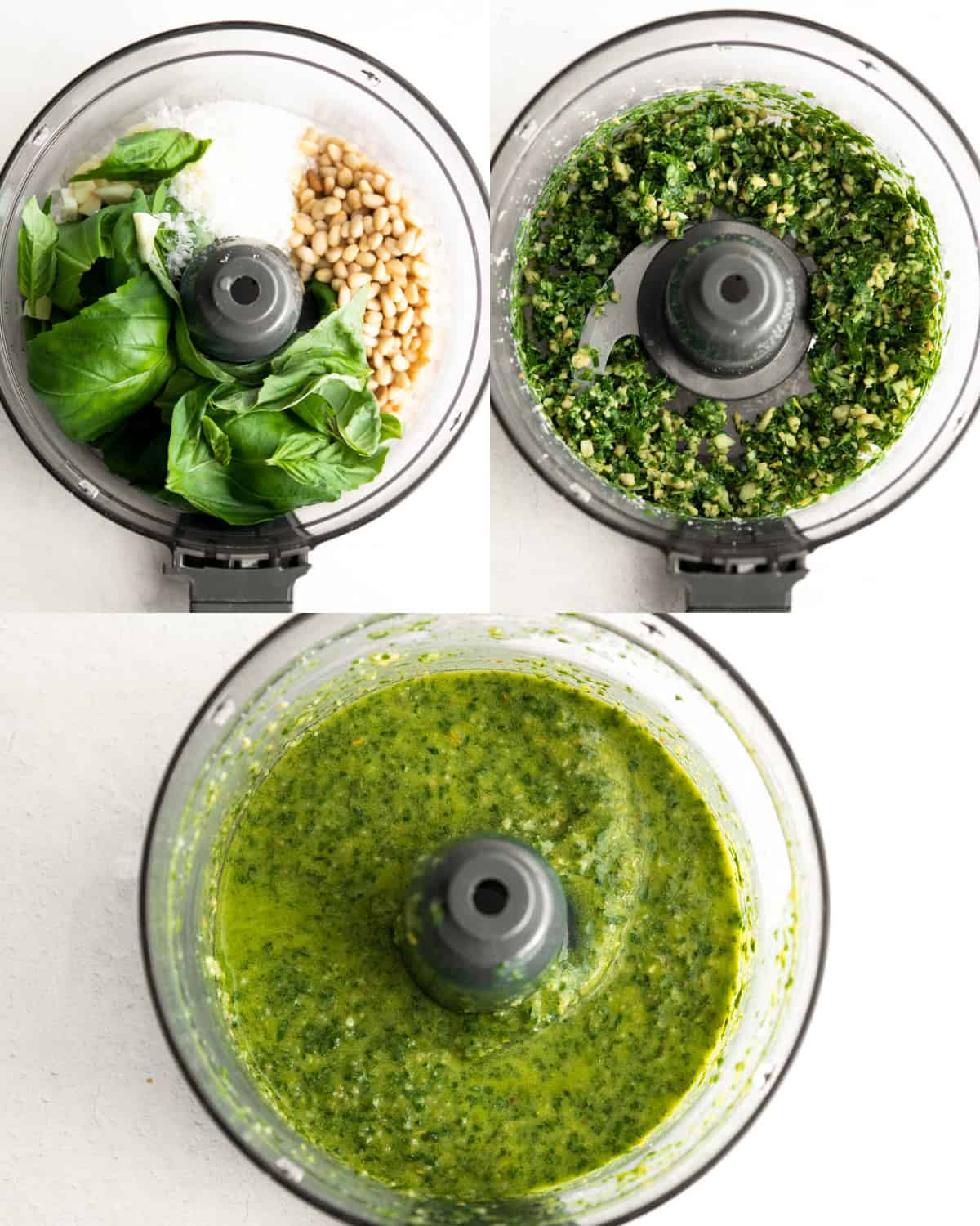 Three shots of basil pesto in a food processor, before during and after blending