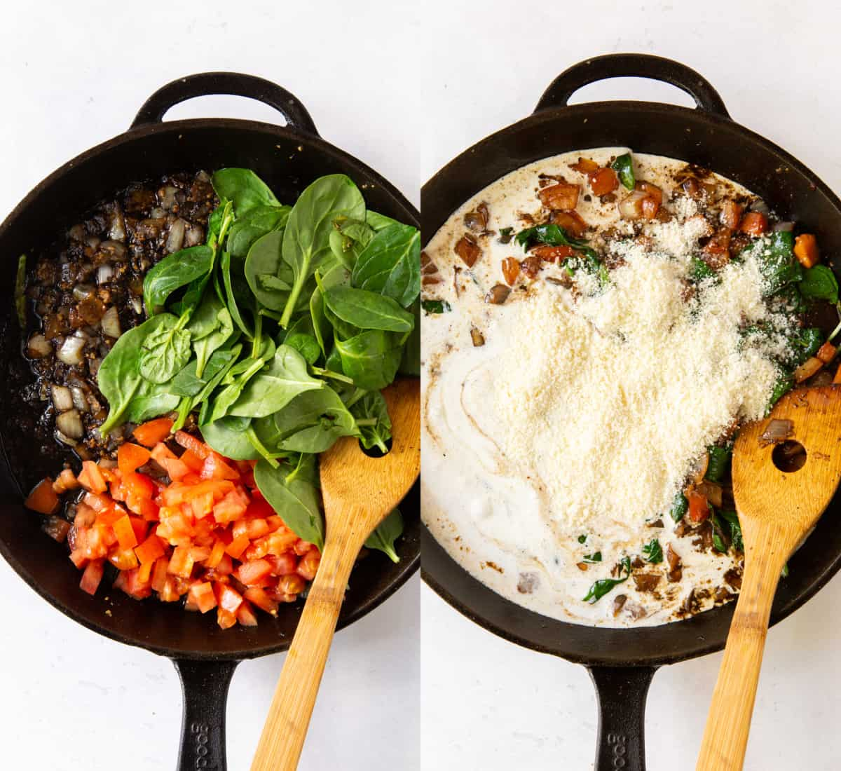 mixing together ingredients in skillet