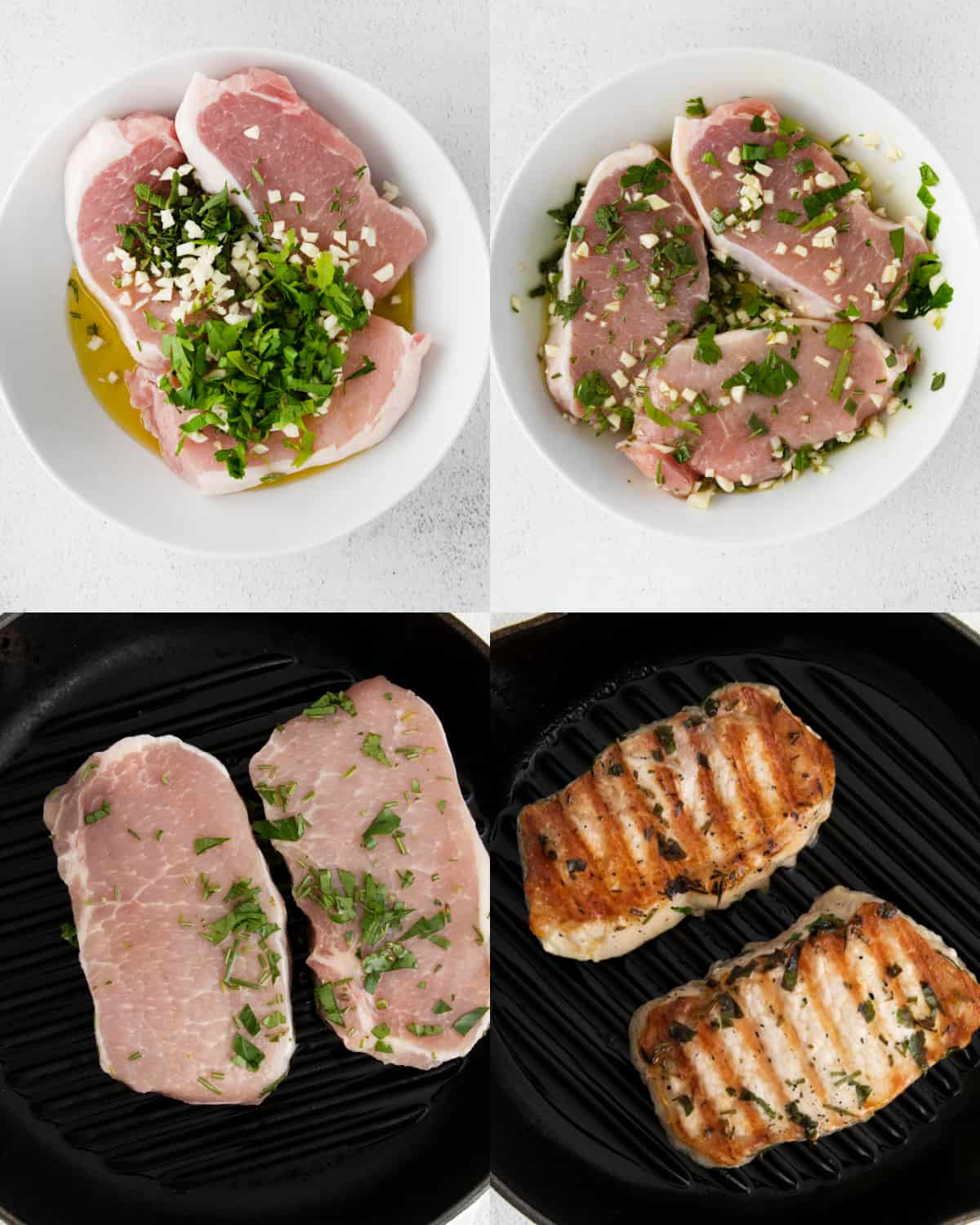 mixing together ingredients for pork chops in a bowl and grilling