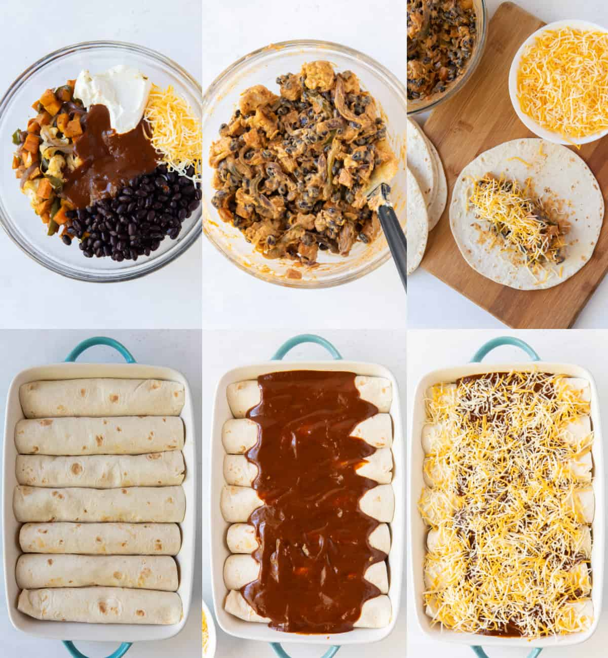 Six photos showing the process of making enchiladas, from combining the veggie mixture to filling the tortillas and baking.