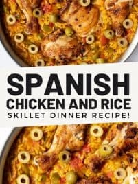 spanish chicken and rice in a skillet pan