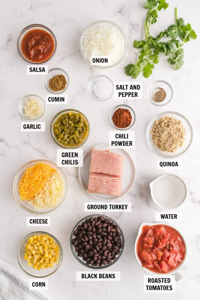 ingredients for turkey taco quinoa skillet on white tabletop
