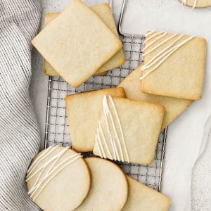 lemon shortbread on a baking rack