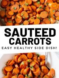 sauteed carrots in a skillet