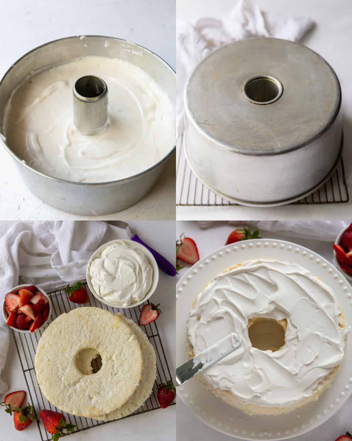 Process shots of removing angel food cake from a pan, slicing it, and layering it with whipped cream.