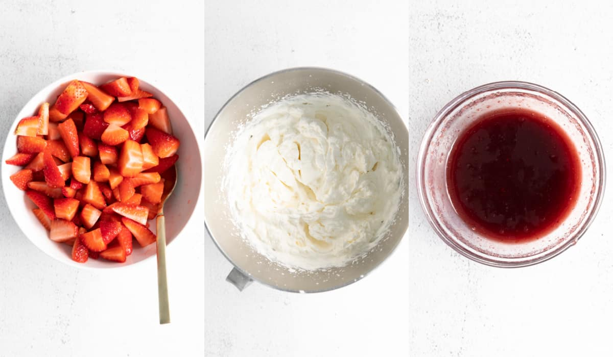 Three bowls. One with strawberries, the middle with whipped cream and the third with strawberry sauce