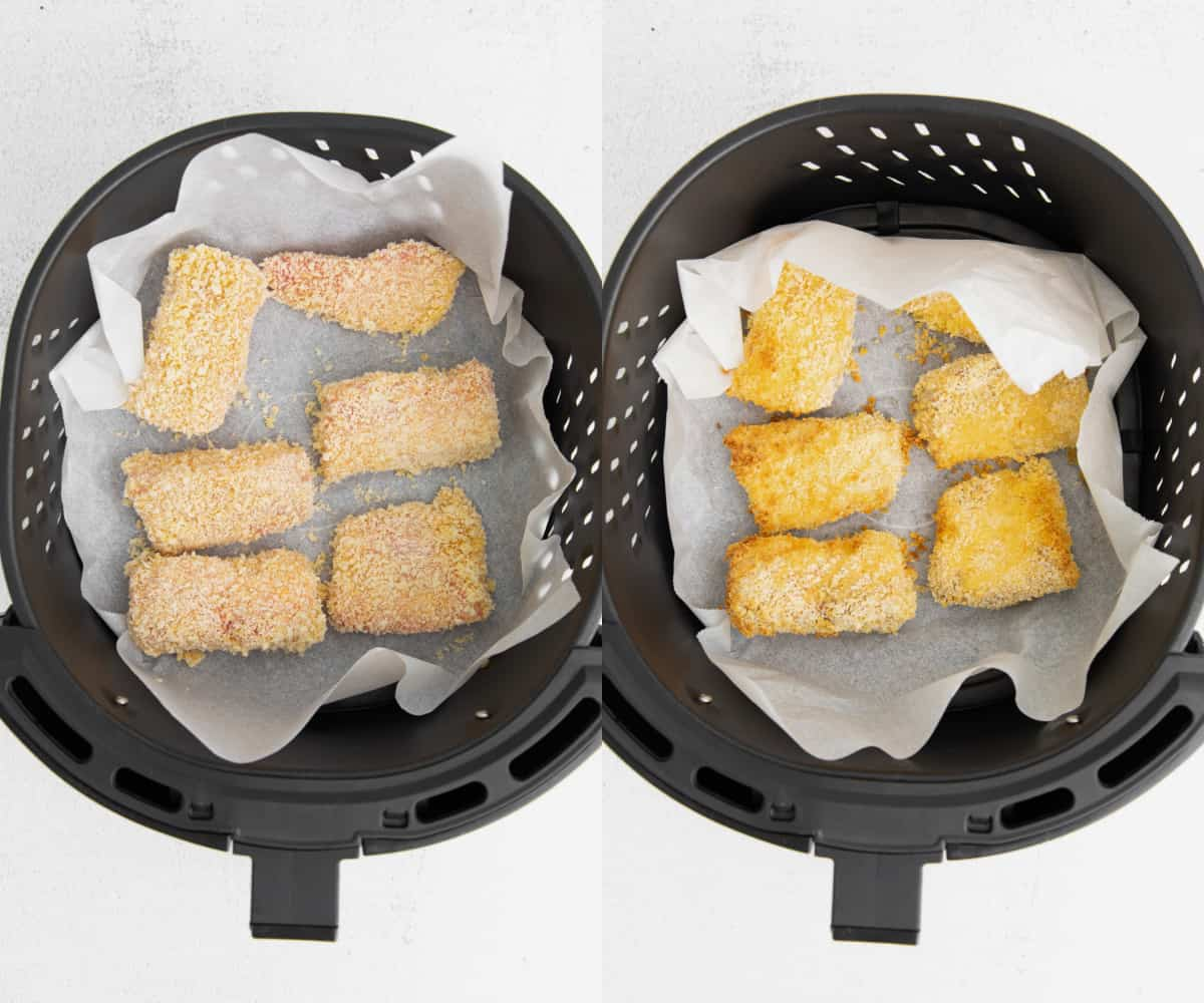 before and after cooking the fish in the air fryer