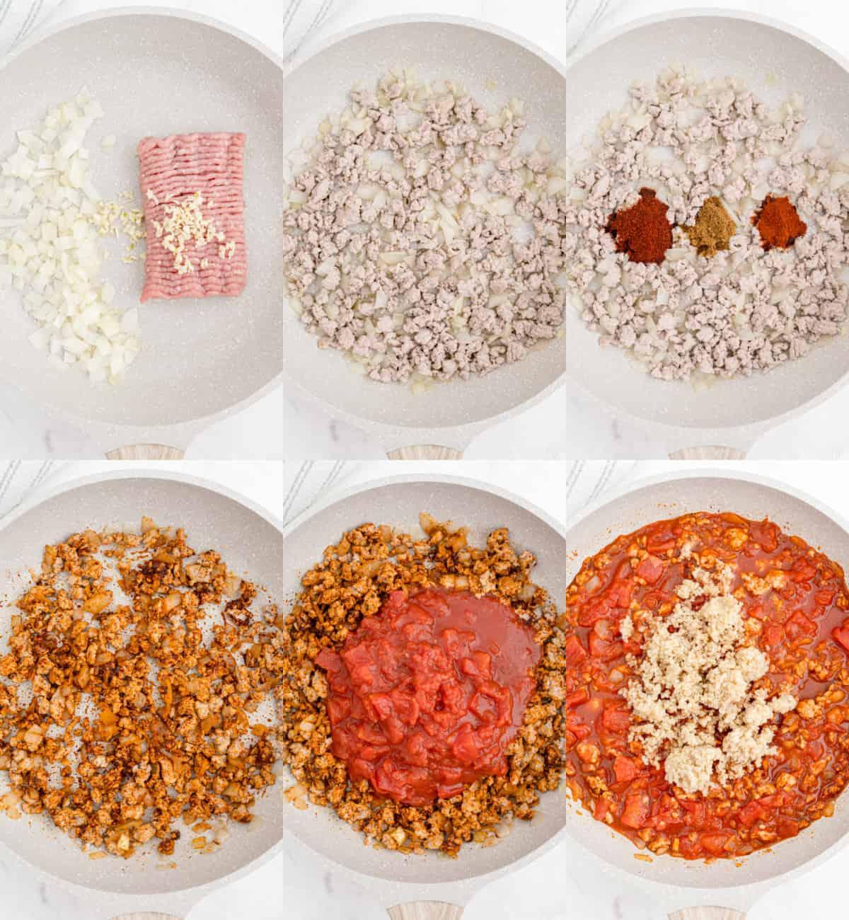 cooking ingredients for pepper filling in skillet