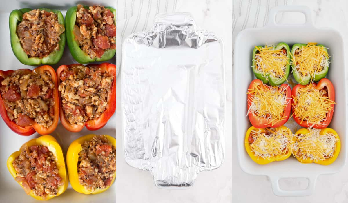 covering stuffed peppers and baking