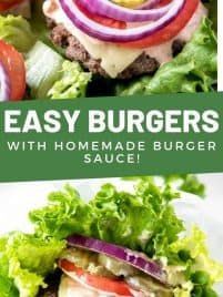 a burger on a bed of lettuce with cheese, onion, pickles and tomato on top