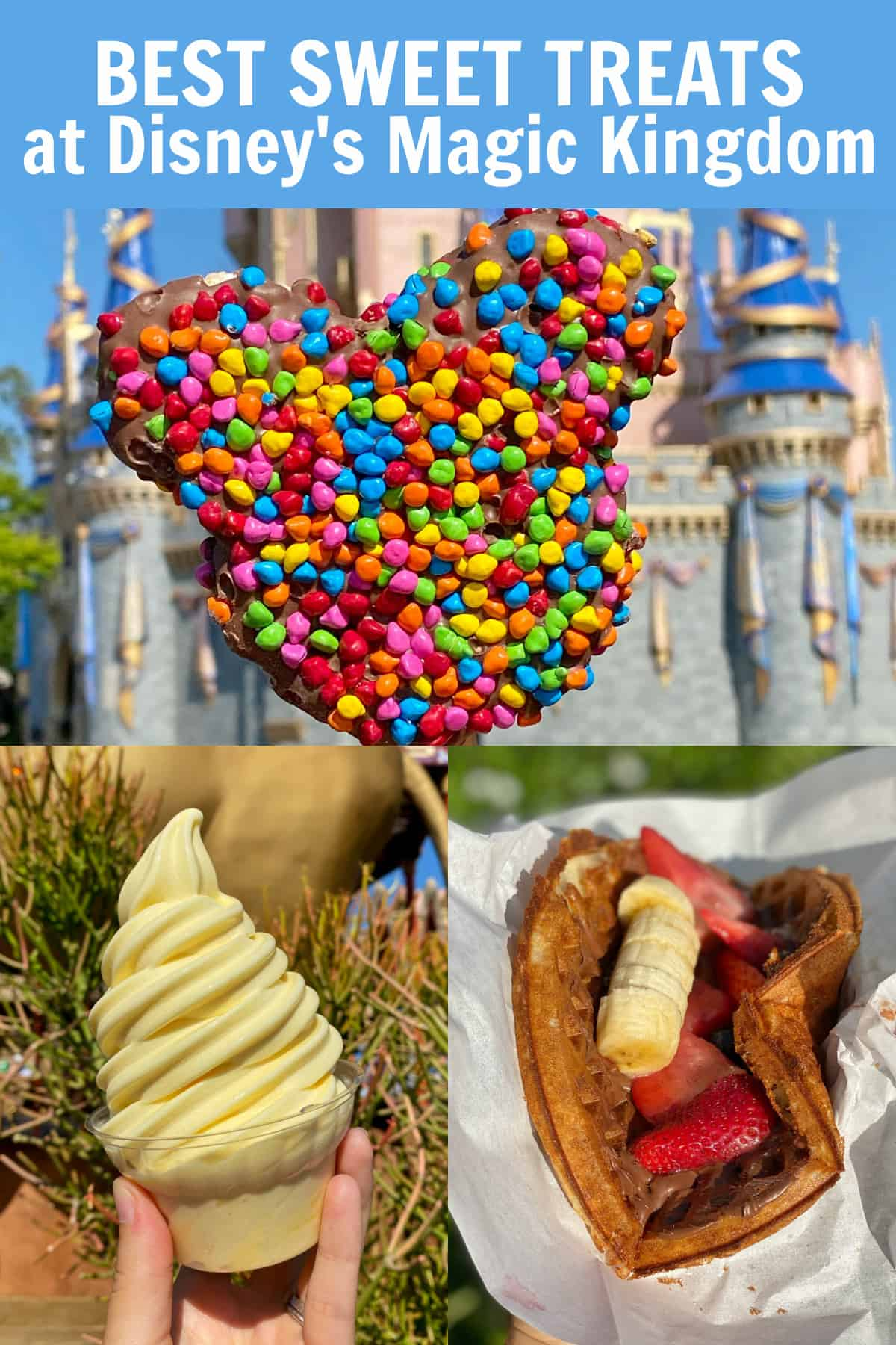 mickey rice krispie treat, dole whip and nutella waffle