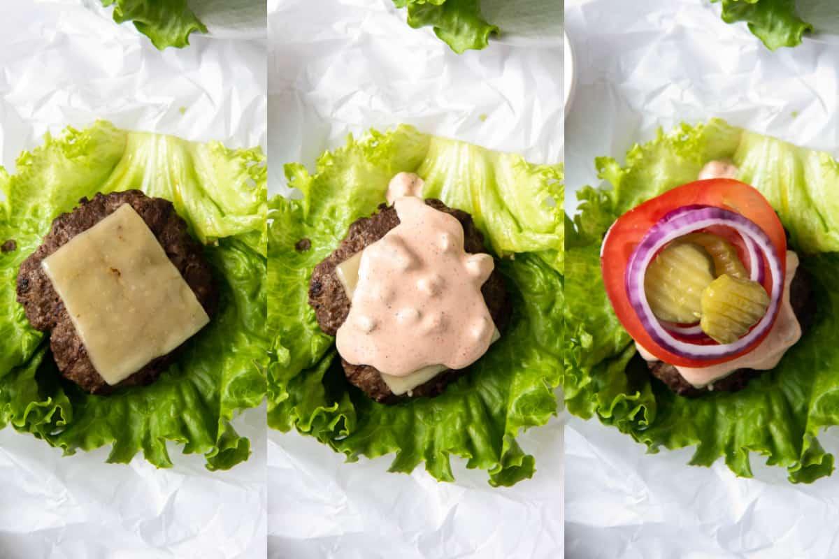 layering ingredients on burger