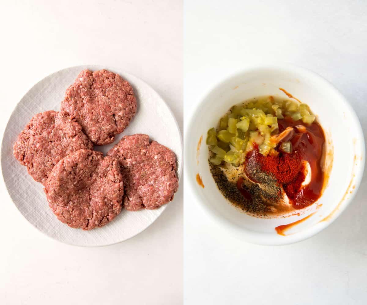 hamburger patties and sauce in bowl