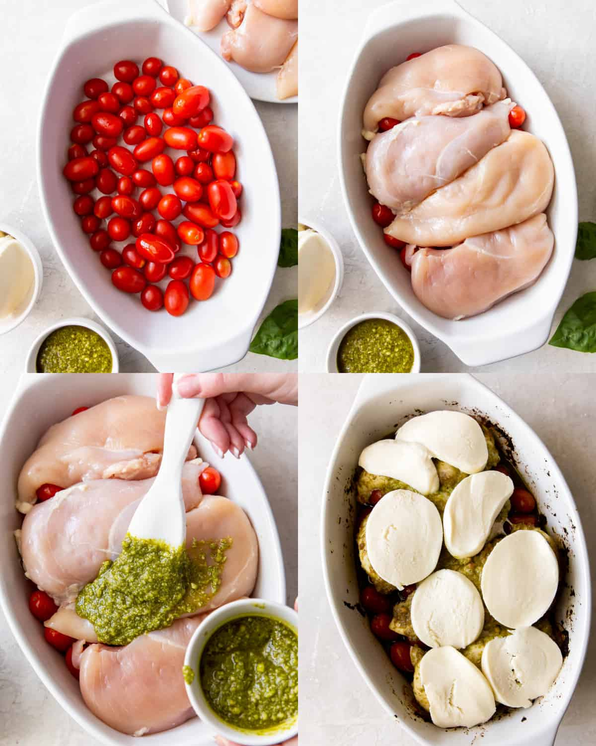 all of the ingredients for the baked pesto chicken layered in a baking dish