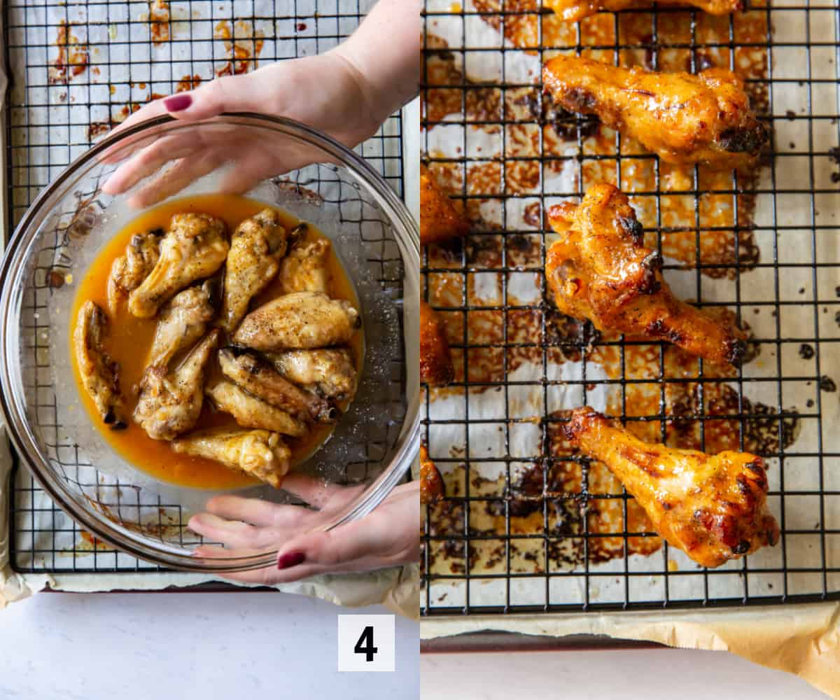 tossing chicken wings in a bowl and then baking in the oven