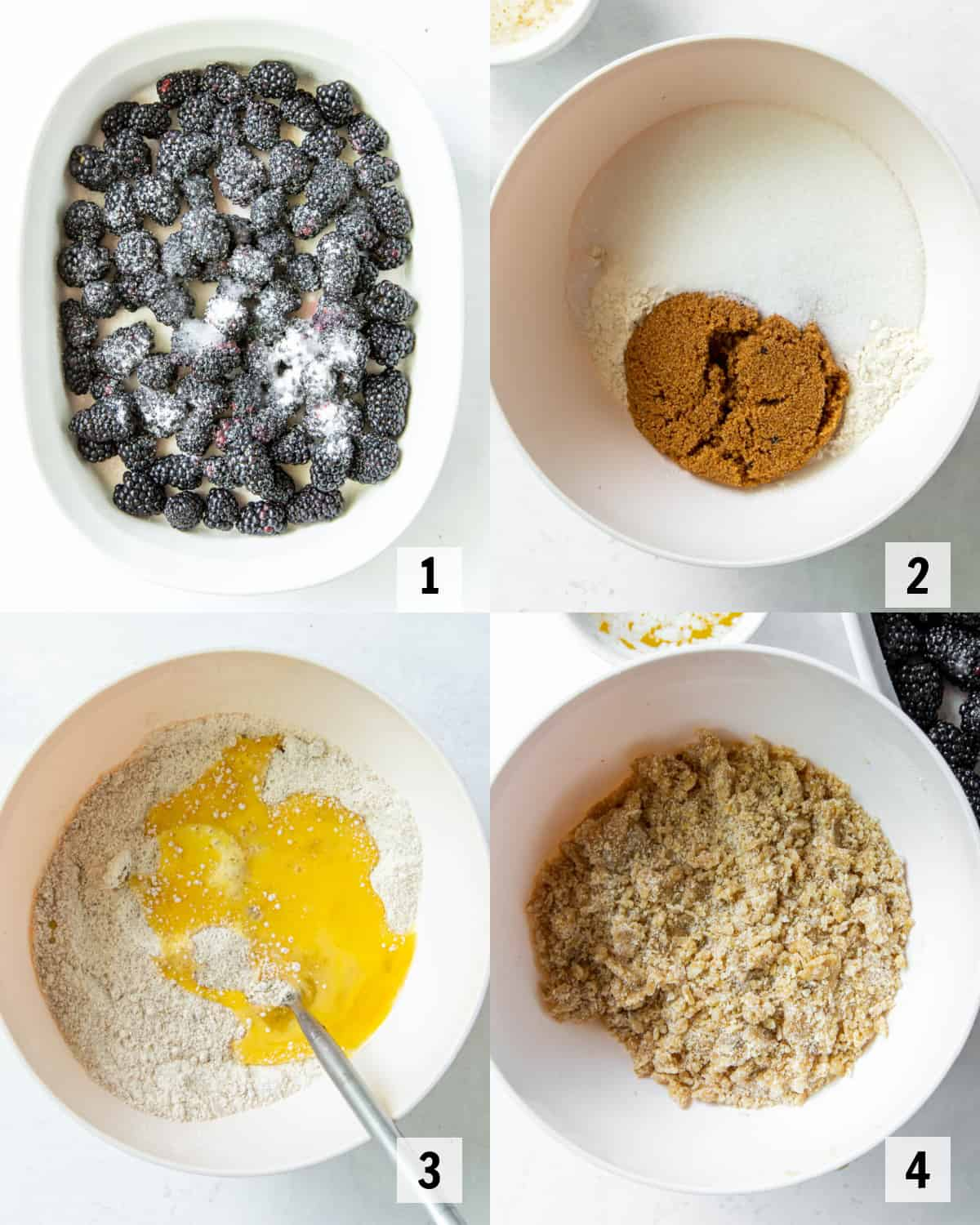 mixing together ingredients for cobbler in a bowl