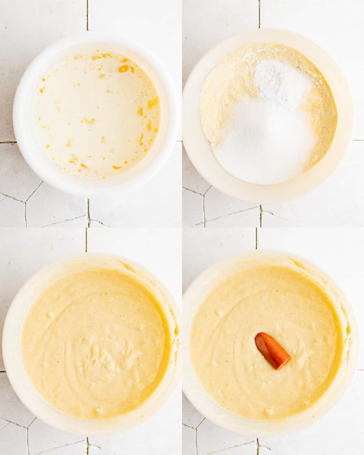 mixing together ingredients for corn dog batter in bowl