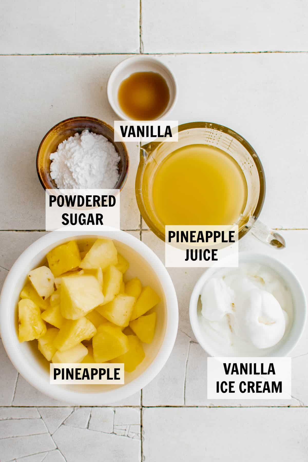 all of the ingredients for dole whip on a tabletop