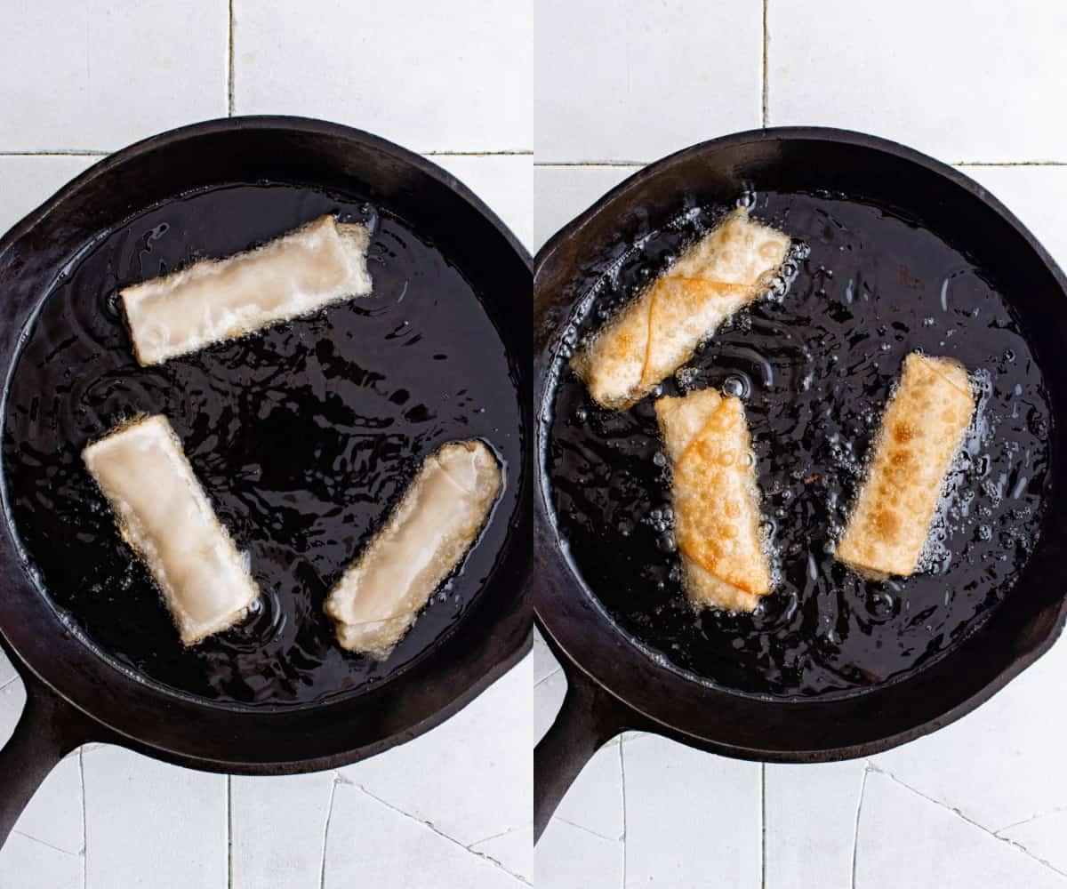 cooking egg rolls in skillet