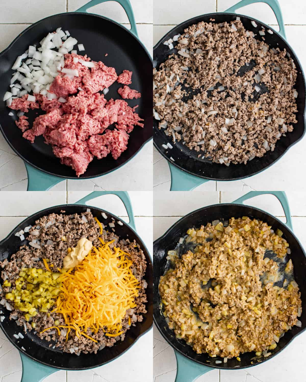 cooking filling for egg rolls in skillet