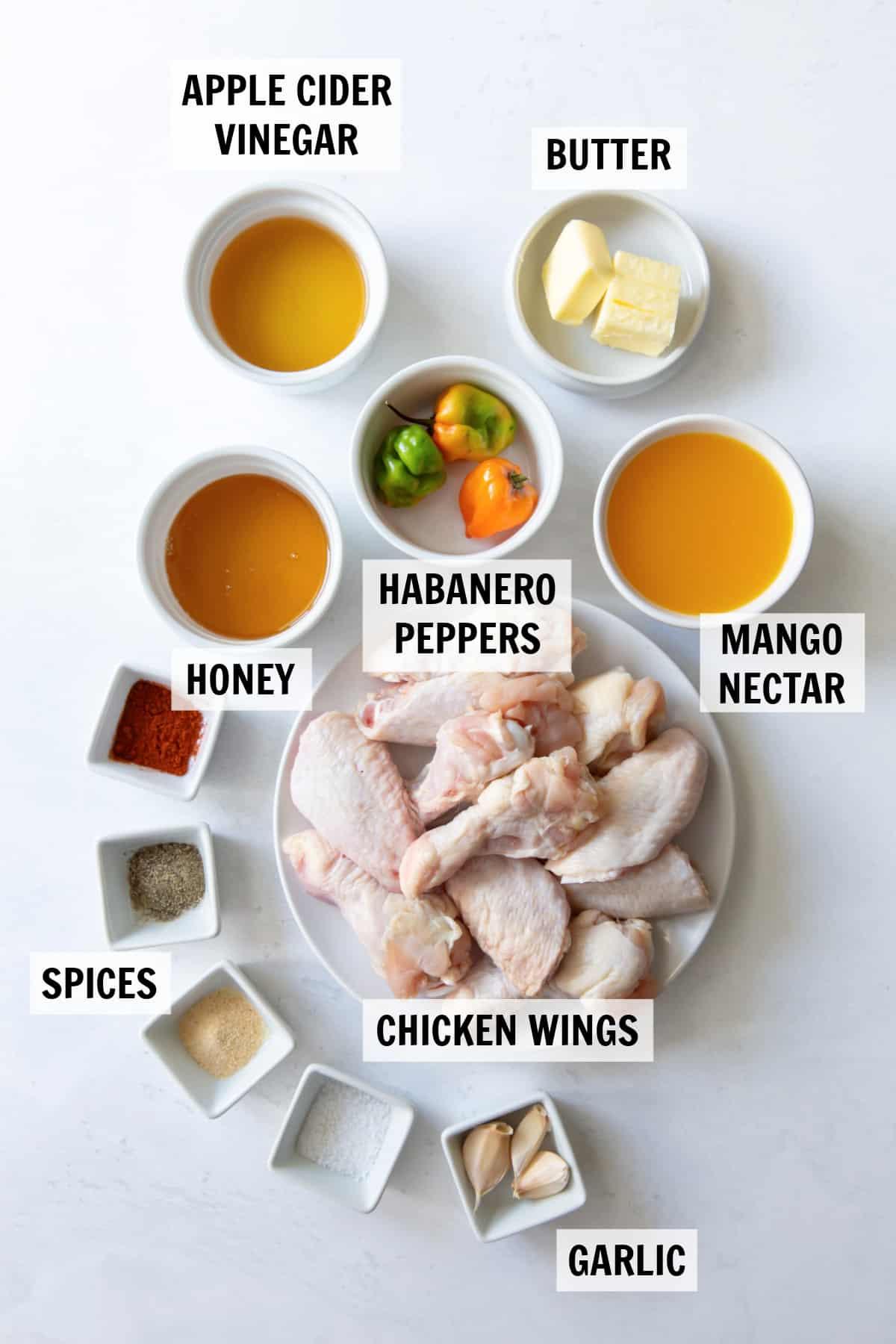 ingredients for mango habanero chicken wings