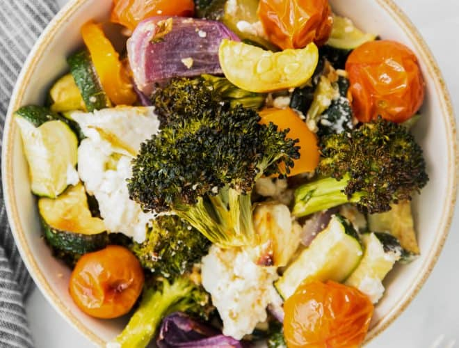 roasted vegetables with feta in a bowl