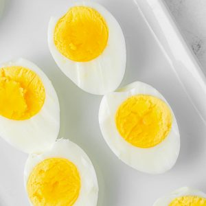 close up photo of sliced boiled eggs