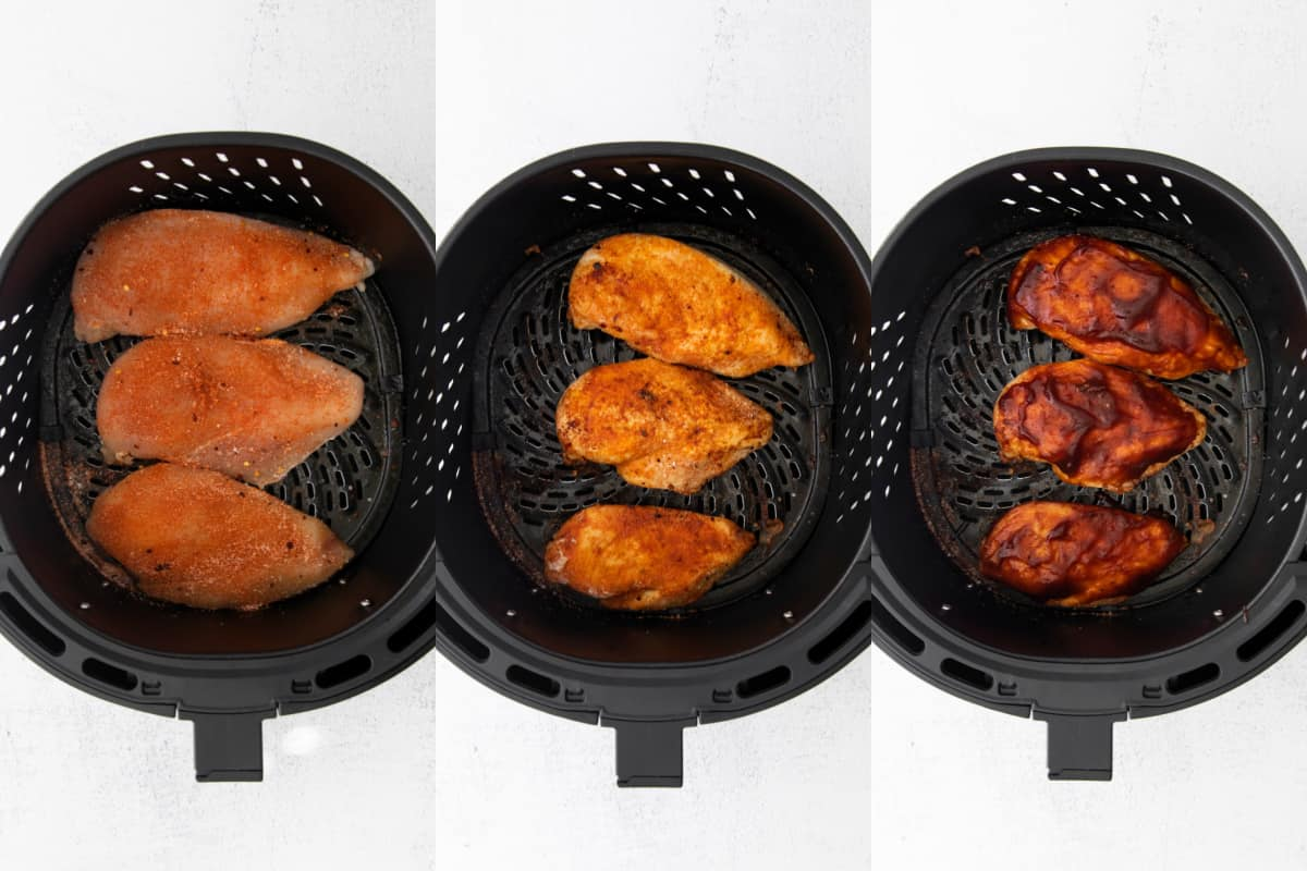 chicken in the air fryer before and after cooking