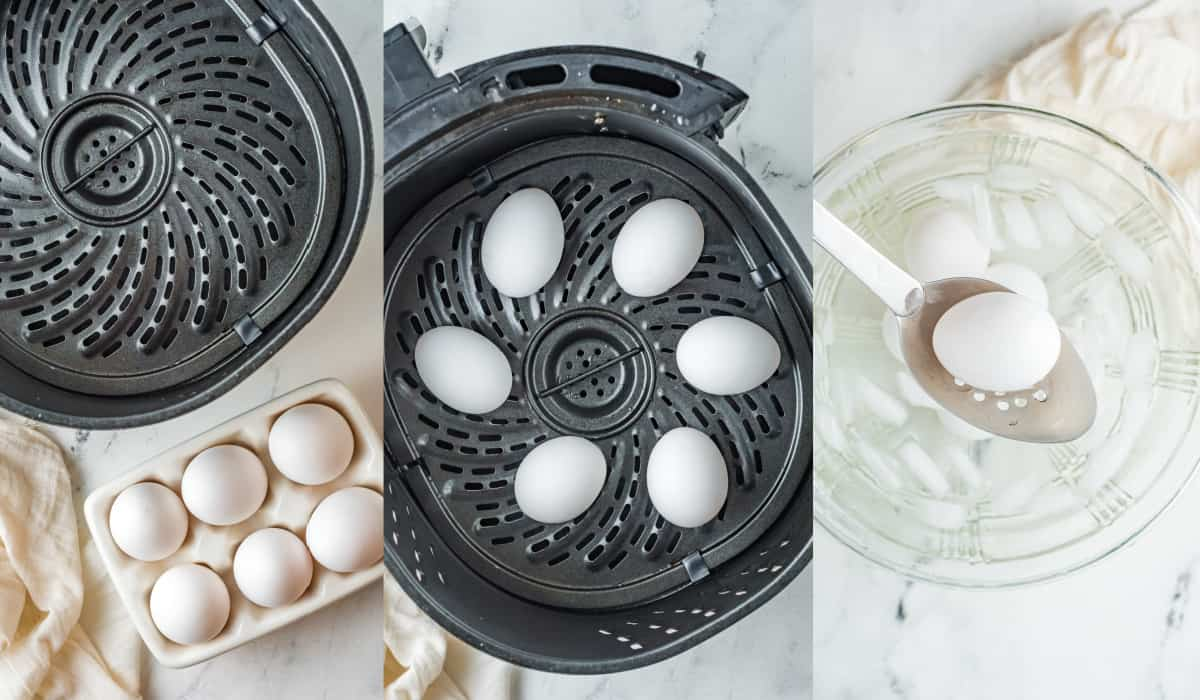 placing eggs in the air fryer to cook