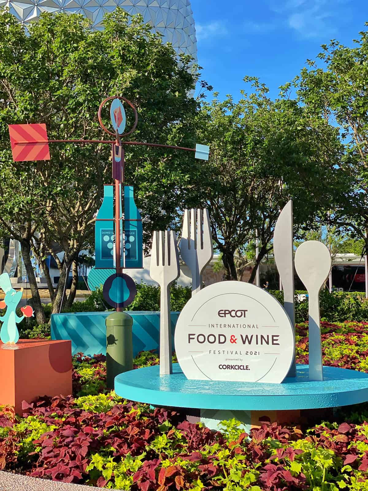 food and wine sign at epcot