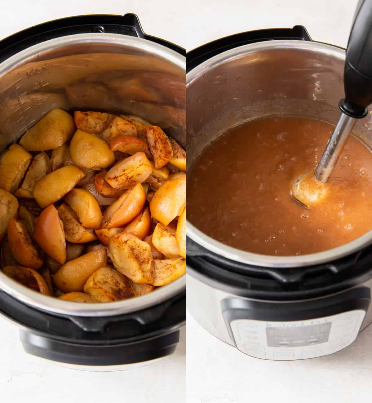 using an immersion blender to puree cooked apples