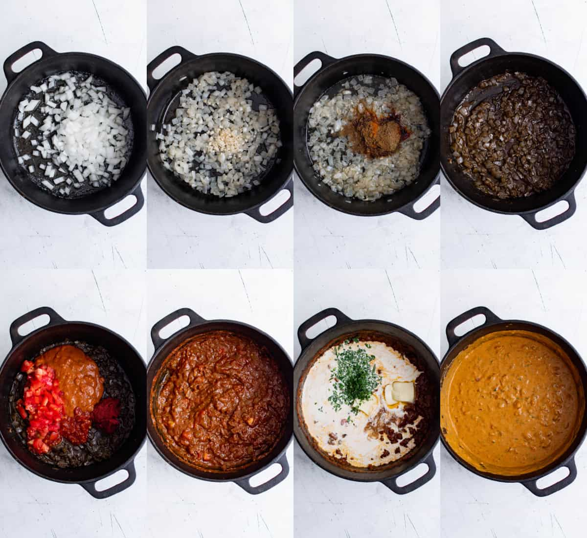 simmering sauce for butter chicken in a pan on the stovetop