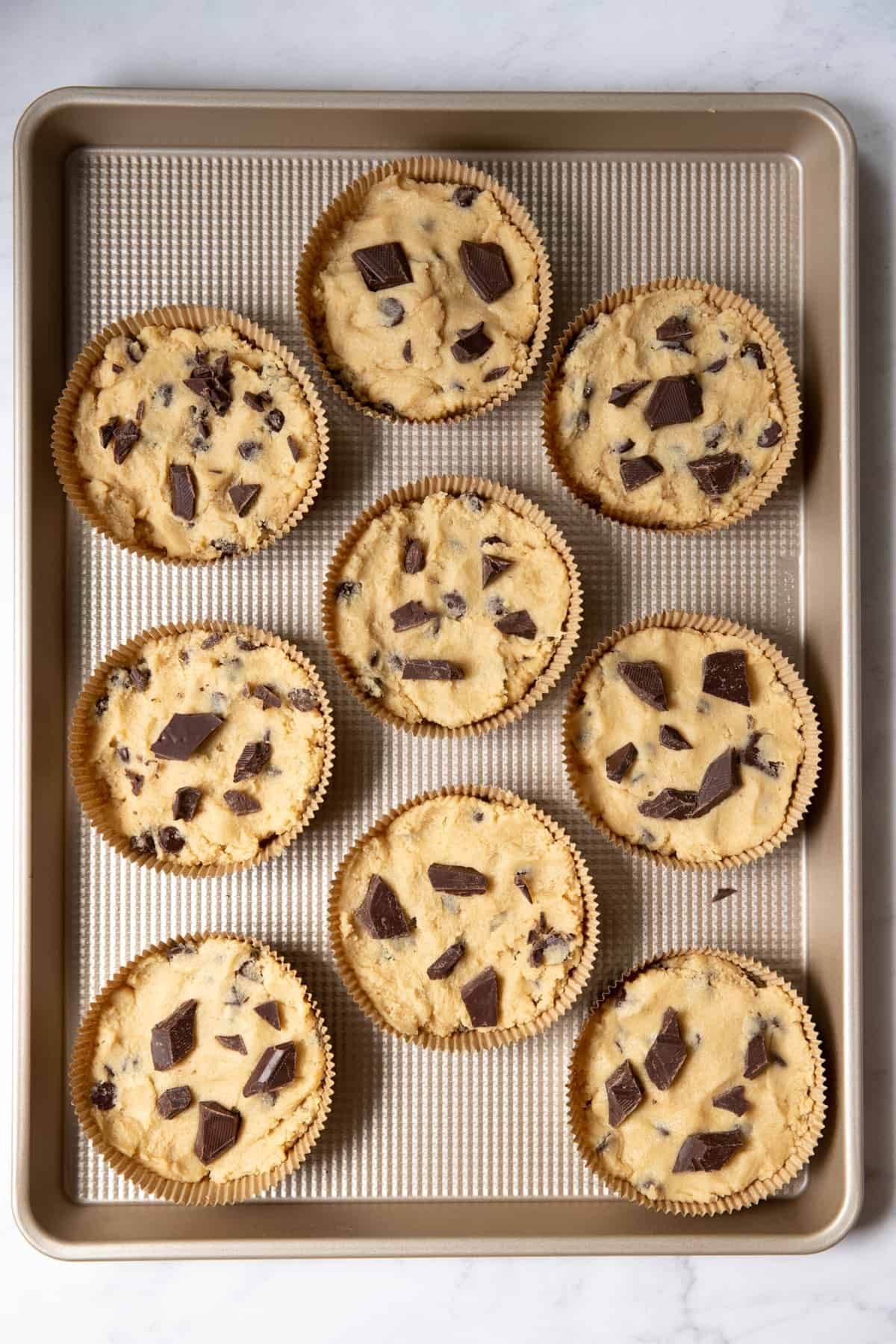 cookie dough in the individual pans before serving