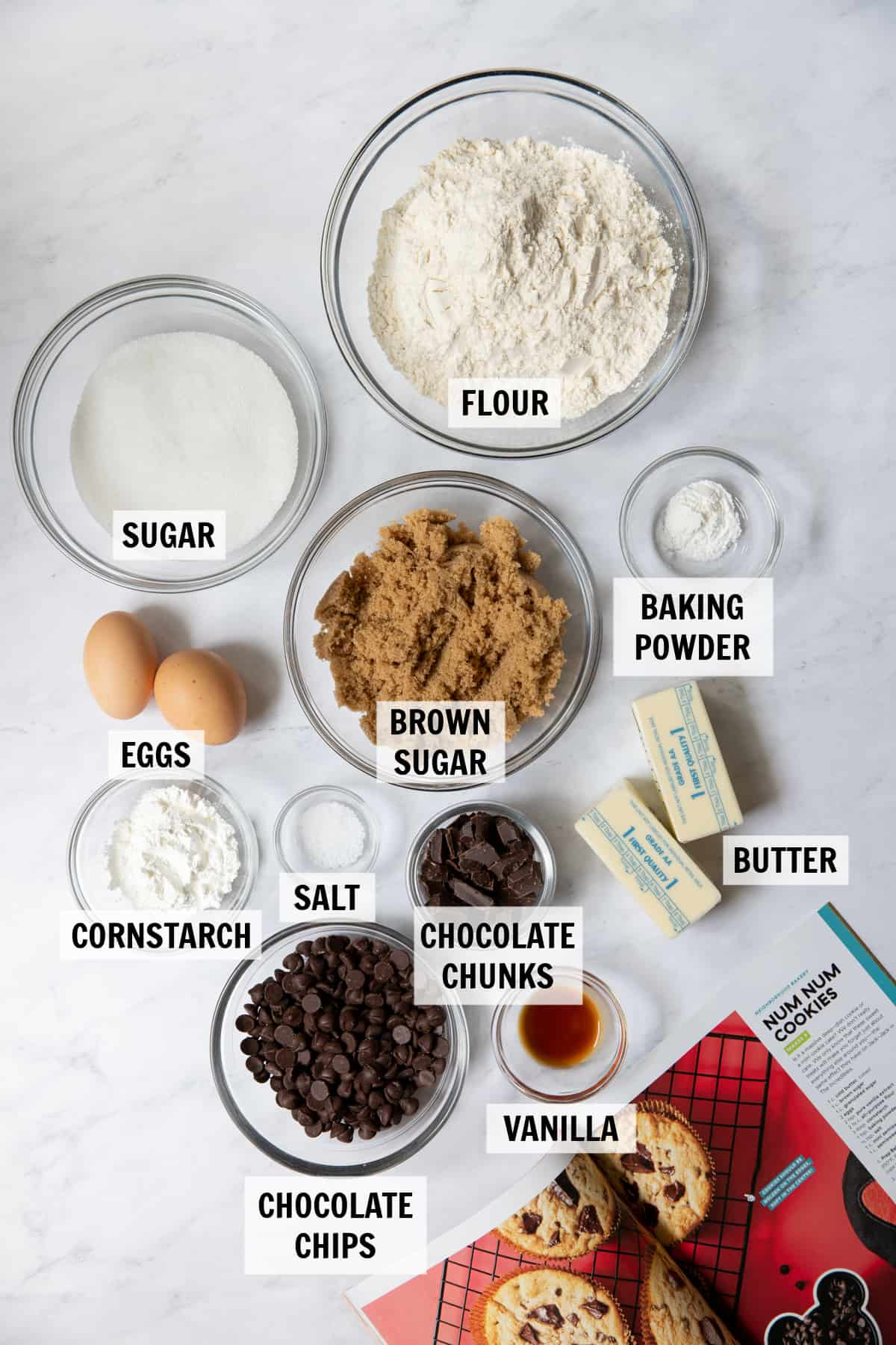 all of the ingredients for num num cookies on a white tabletop