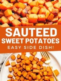sauteed sweet potatoes in a skillet and on a plate