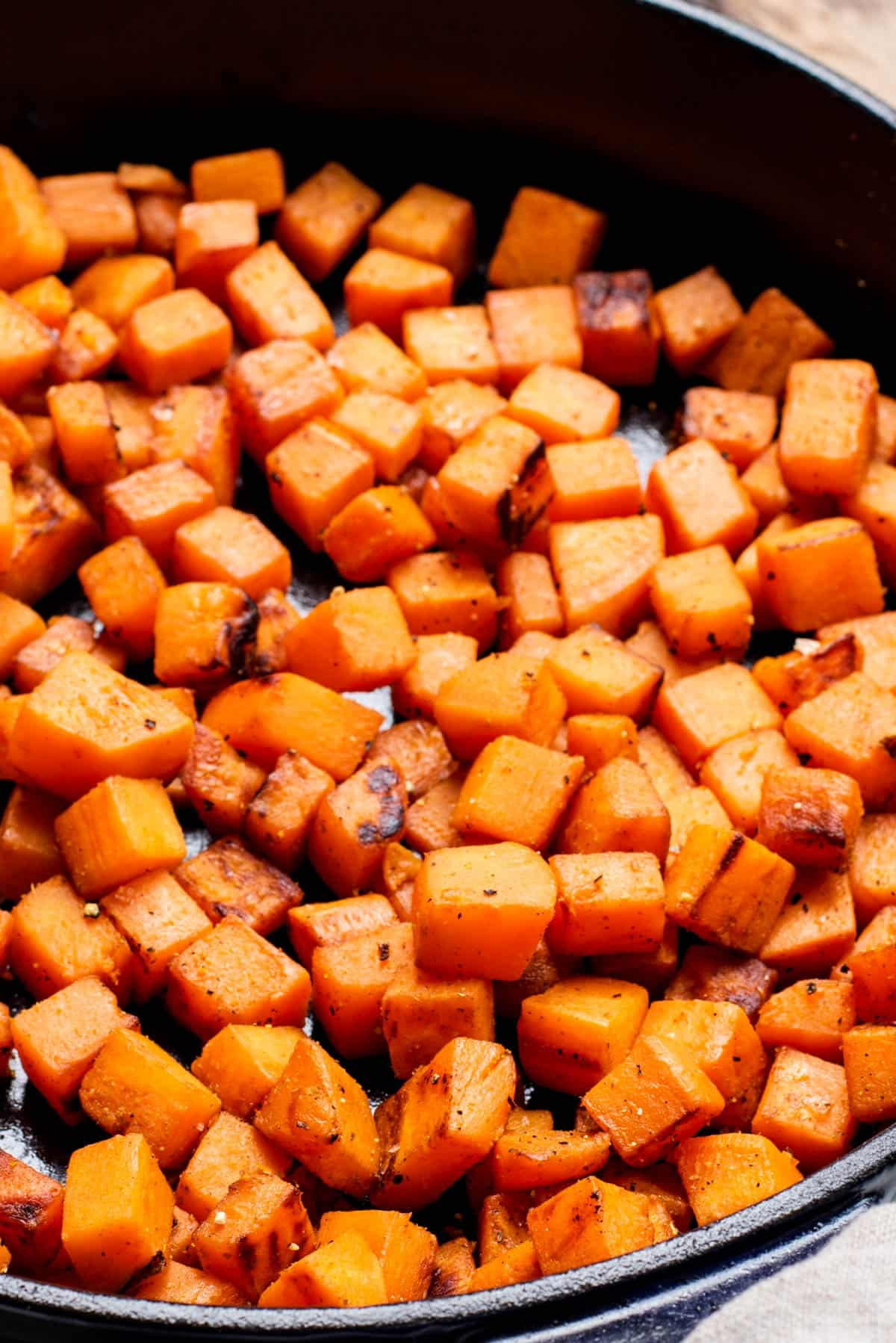 sweet potatoes cooked in a skillet