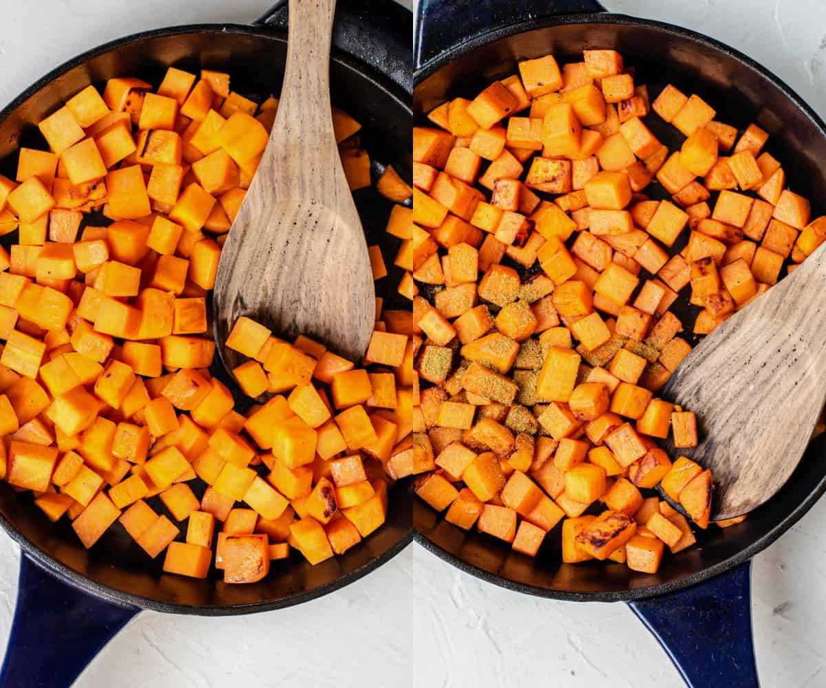 cooking chopped sweet potatoes in a skillet with cumin