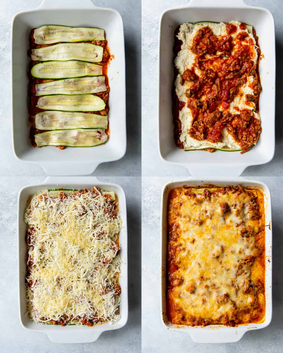 layer all of the ingredients for lasagna in a dish