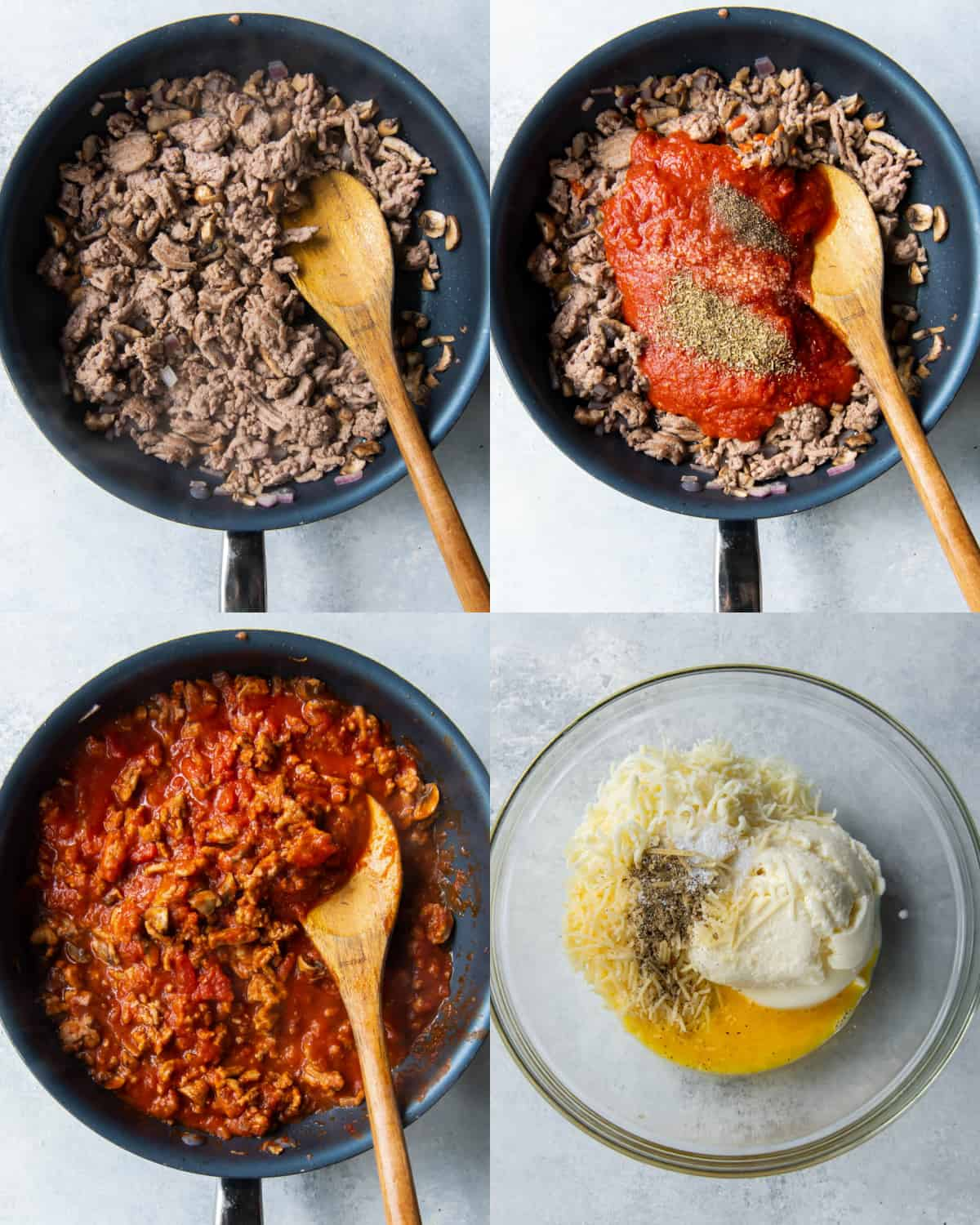 cook sauce for zucchini lasagna in a skillet