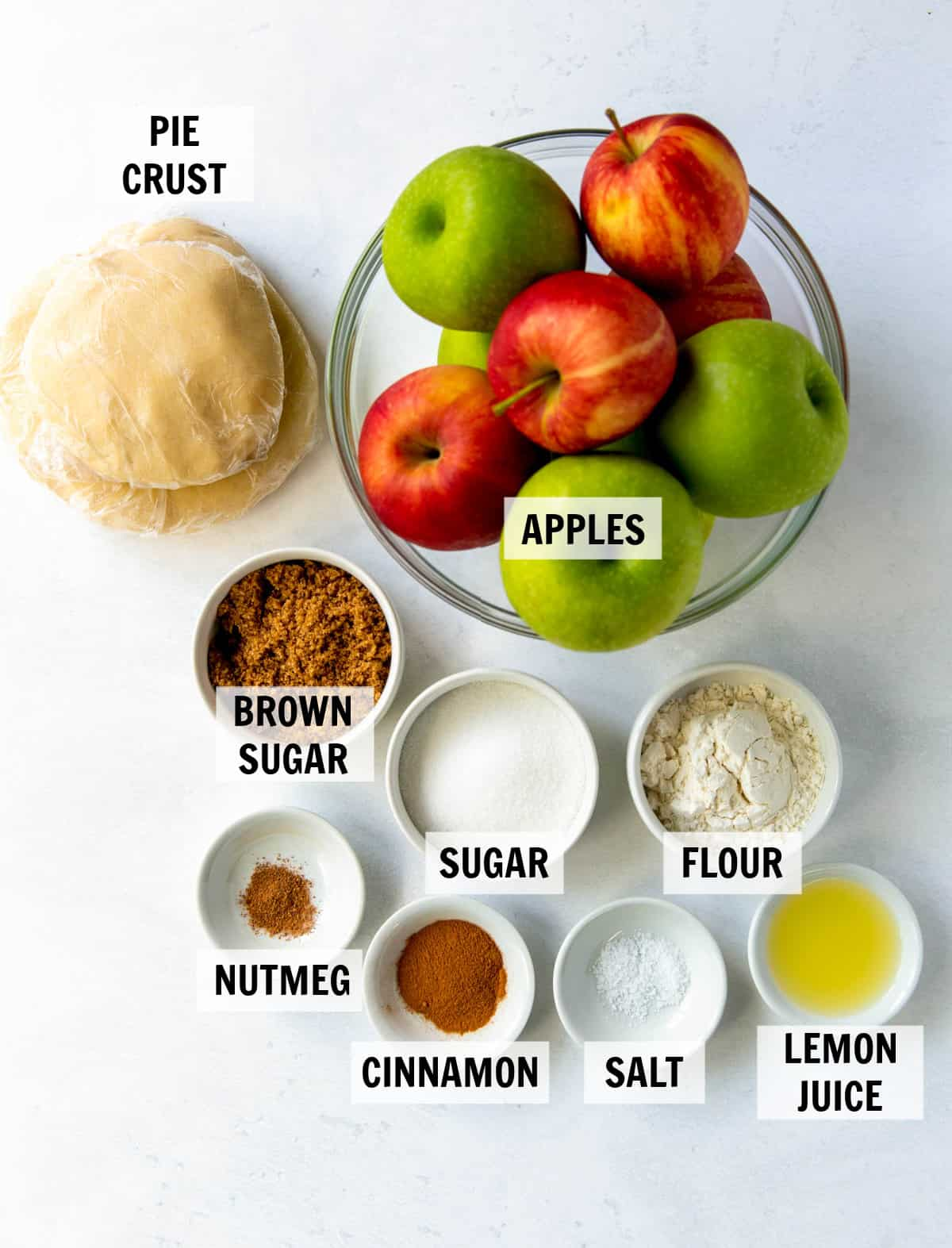 all of the ingredients on a white tabletop