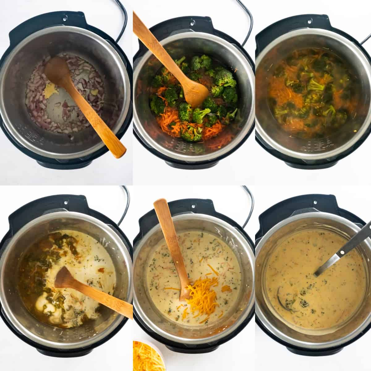 cooking the broccoli and cheese soup in the instant pot, adding ingredients and stiring