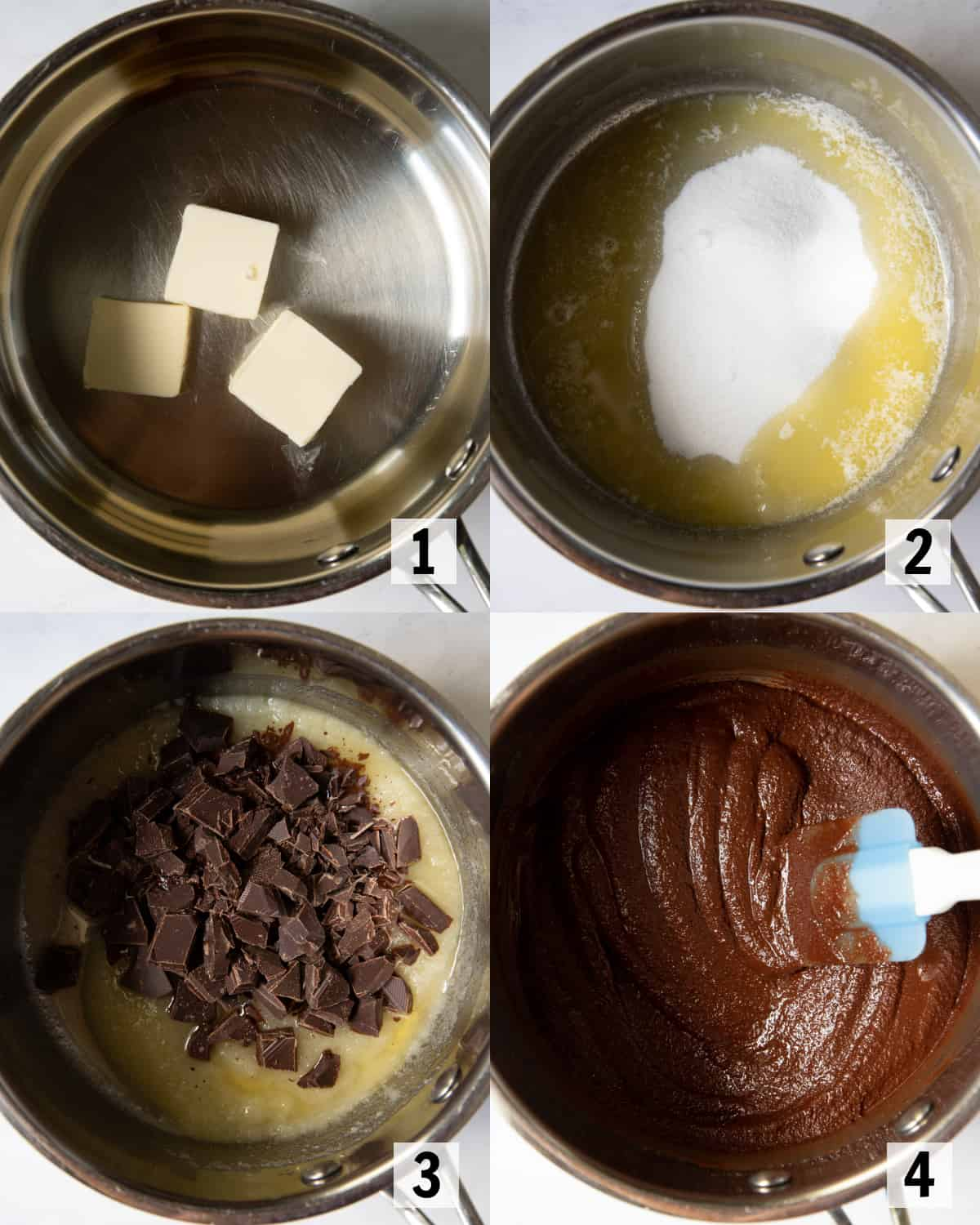 mixing together butter, sugar and chocolate in a saucepan on the stove