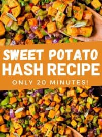 cooked sweet potato hash in a skillet