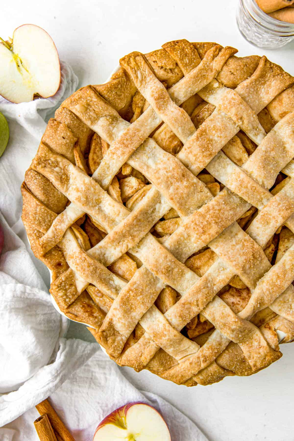 baked apple pie on a white tabletop
