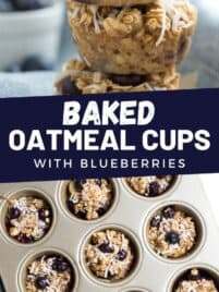 baked oatmeal cups stacked in a pile