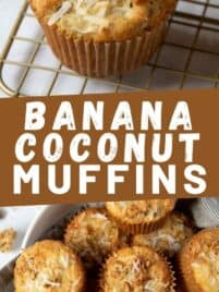 banana coconut muffins on a cooling rack