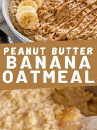 a bowl filled with peanut butter banana oatmeal