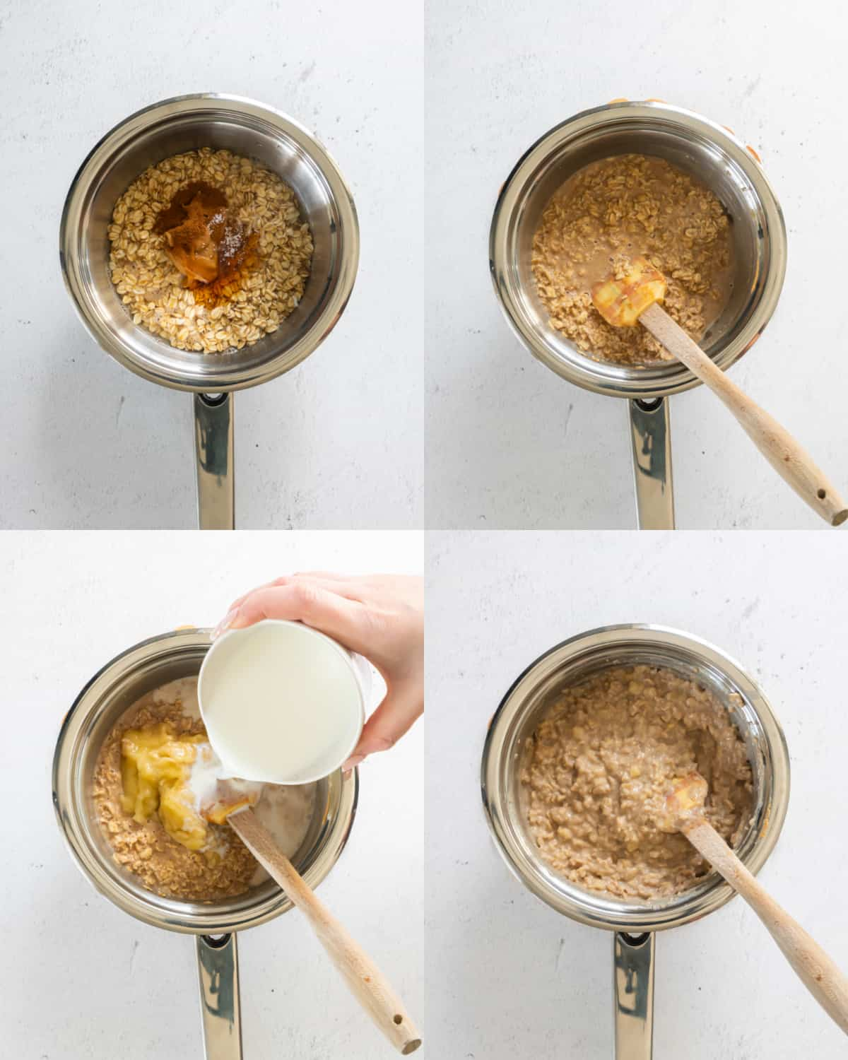 mixing together oatmeal ingredients in a saucepan for cooking